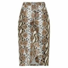 PushBUTTON Brown Coated Snake-print Skirt