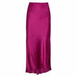 Sies Marjan Xael Magenta Satin Midi Skirt