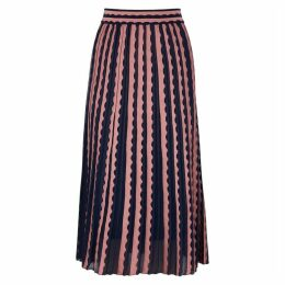 M Missoni Navy Scalloped Fine-knit Skirt