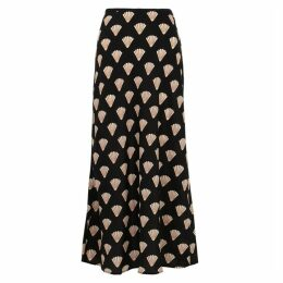 RIXO Kelly Printed Bias-cut Silk Midi Skirt