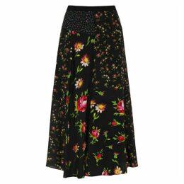 McQ Alexander McQueen Black Floral-print Midi Skirt