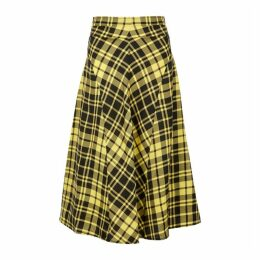 Proenza Schouler Yellow Checked Midi Skirt