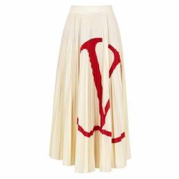 Valentino Cream Logo-print Jersey Midi Skirt