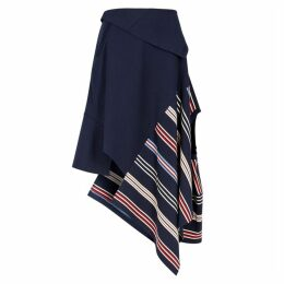 MONSE Navy Panelled Jersey Skirt
