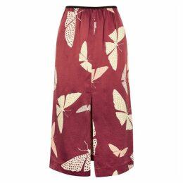 Forte forte Butterfly-print Hammered Silk Midi Skirt