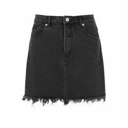 ABRAND A High Black Denim Mini Skirt