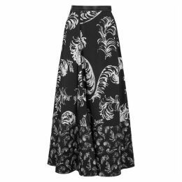 Loewe Monochrome Feather-print Maxi Skirt