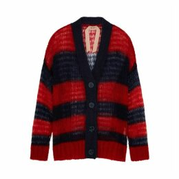 No.21 Striped Mohair-blend Cardigan