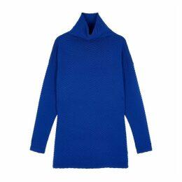 Victoria, Victoria Beckham Blue Chevron-knit Wool-blend Jumper