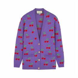 Gucci GG Cherry-intarsia Wool Cardigan