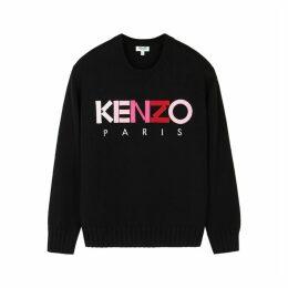 Kenzo Black Logo-appliquéd Wool Jumper