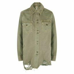 Free People Moonchild Army Green Denim Jacket