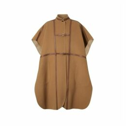 Burberry Leather Harness Detail Wool Blend Cape