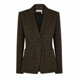 Chloé Brown Checked Wool-blend Blazer