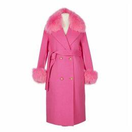 Popski London Hot Pink Cashmere Fox Trim Coat