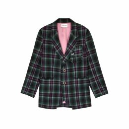 Natasha Zinko Green Checked Brushed-cotton Blazer