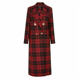 Mother Of Pearl Mable Plaid Double-breasted Wool Coat