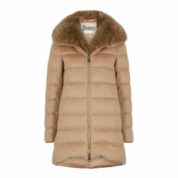 Herno Camel Quilted Silk-blend Coat