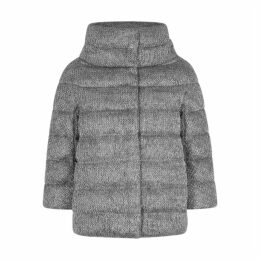 Herno Grey Quilted Shell And Metallic-knit Jacket