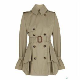Alexander McQueen Sand Peplum Cotton-twill Trench Coat