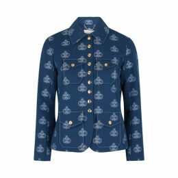 Chloé Blue Monogrammed Cotton-twill Jacket