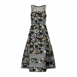 Aidan Mattox Printed Crepe Illusion Dress