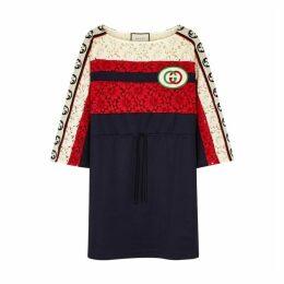 Gucci Navy Lace Detail Jersey Dress