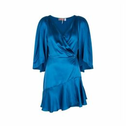 Free People Strike A Pose Blue Silk Mini Dress