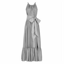 KALITA Genevieve Silver-tone Silk Maxi Dress