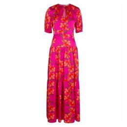 Borgo De Nor Alma Hibiscus-print Hammered Silk Maxi Dress