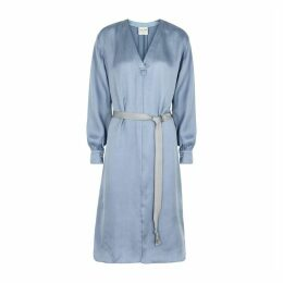 Forte forte Light Blue Belted Cupro Dress