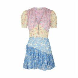 LoveShackFancy Bea Floral-print Silk Mini Dress