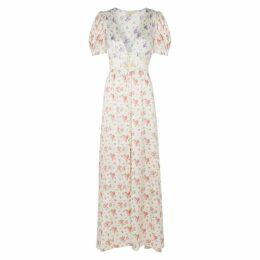 LoveShackFancy Stacy Floral-print Silk Maxi Dress