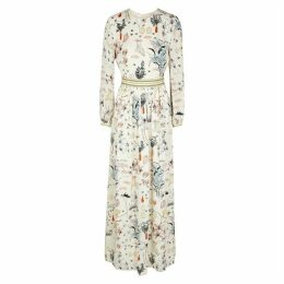 Tory Burch Cream Printed Silk Maxi Dress