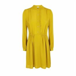 Equipment Avignon Mustard Satin-crepe Dress