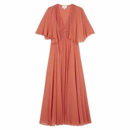 Giambattista Valli Terracotta Lace-trimmed Silk Gown