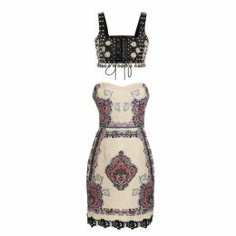 Comino Couture London Warrior Embellished Studded Bralette Dress
