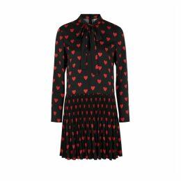 RED Valentino Black Heart-print Mini Dress
