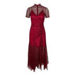 Jonathan Simkhai Red Ruched Lace Dress