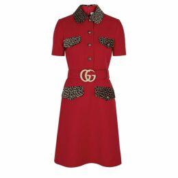 Gucci Red Wool And Silk-blend Mini Dress