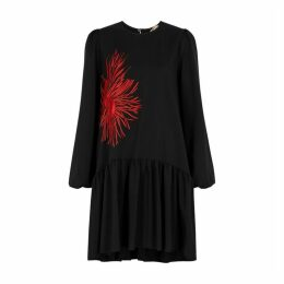 No.21 Black Embroidered Wool Dress