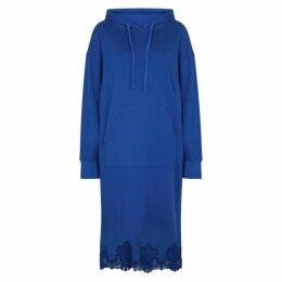 PushBUTTON Blue Lace-trimmed Cotton Sweatshirt Dress