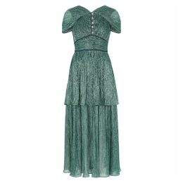 Peter Pilotto Green Crystal-embellished Lamé Midi Dress