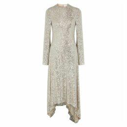 Galvan Modern Love Silver Sequin Dress