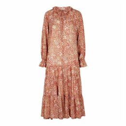 Free People Feeling Groovy Floral-print Georgette Midi Dress