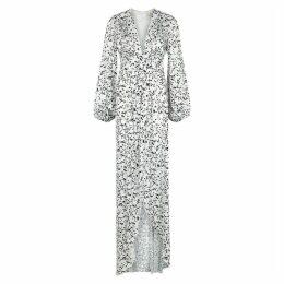 Giuseppe Di Morabito White Flocked Satin Maxi Dress