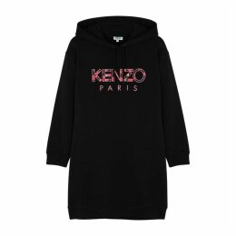 Kenzo Black Logo Cotton Sweatshirt Dress