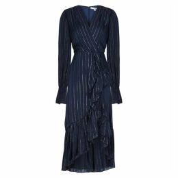 Jonathan Simkhai Navy Striped Silk-blend Midi Dress