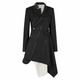 MONSE Black Asymmetric Wool-blend Blazer Dress