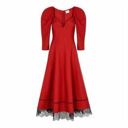 Khaite Dina Red Lace-trimmed Twill Midi Dress